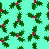Teste padrão sem emenda do Natal com bagas do azevinho Imagens de Stock Royalty Free