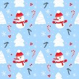 Teste padrão sem emenda do Natal com boneco de neve, abeto, flocos de neve e doces Imagens de Stock