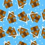 Teste padrão sem emenda do Natal com casas ilustração stock