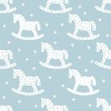 Teste padrão sem emenda do Natal com cavalos de balanço Imagens de Stock
