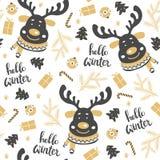 Teste padrão sem emenda do Natal com cervos Imagem de Stock