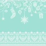 Teste padrão sem emenda do Natal com decoração de suspensão brinquedos, presente, meia, floco de neve, pássaro e beira sem emenda Fotos de Stock