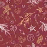 Teste padrão sem emenda do Natal com doces, pinho Fotos de Stock Royalty Free