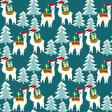 Teste padrão sem emenda do Natal com lamas bonitos ilustração do vetor