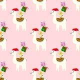 Teste padrão sem emenda do Natal com lamas bonitos ilustração royalty free