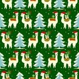 Teste padrão sem emenda do Natal com lamas bonitos ilustração stock