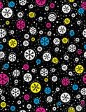Teste padrão sem emenda do Natal com os flocos de neve da cor sobre a parte traseira do preto Fotografia de Stock