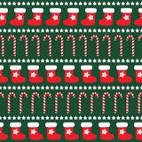 Teste padrão sem emenda do Natal com peúgas do xmas, estrelas e bastões de doces Ilustração do Vetor