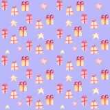 Teste padrão sem emenda do Natal com presentes e estrelas ilustração royalty free
