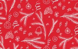 Teste padrão sem emenda do Natal com ramos, os flocos de neve e os ornamento spruce no estilo rústico Fotografia de Stock