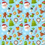 Teste padrão sem emenda do Natal com Santa lisa, cervo, pão-de-espécie ilustração royalty free