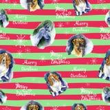 Teste padrão sem emenda do Natal da aquarela com teste padrão dos cães Entregue ilustrações tiradas dos cães em um fundo listrado fotos de stock royalty free