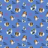 Teste padrão sem emenda do Natal da aquarela com teste padrão dos cães Ilustrações desenhadas mão Feliz Natal da rotulação foto de stock