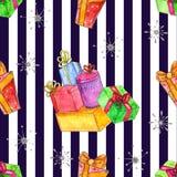 Teste padrão sem emenda do Natal da aquarela com presentes ilustração royalty free