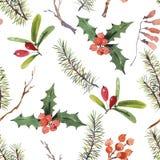 Teste padrão sem emenda do Natal da aquarela do inverno com ramos de árvore ilustração do vetor