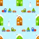 Teste padrão sem emenda do Natal do trem da casa Fotos de Stock