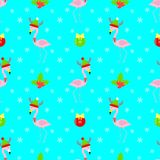 Teste padrão sem emenda do Natal dos desenhos animados do flamingo Imagem de Stock Royalty Free