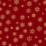 Teste padrão sem emenda do Natal dos flocos de neve brancos no fundo vermelho Eps 10 ilustração stock