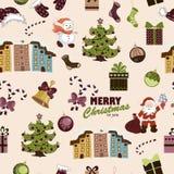 Teste padrão sem emenda do Natal em um fundo bege ilustração royalty free