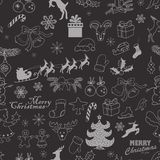 Teste padrão sem emenda do Natal em um fundo escuro Ilustração do esboço do desenho da mão do vetor ilustração royalty free