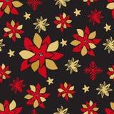 Teste padrão sem emenda do Natal Flocos de neve bonitos dos elementos da garatuja, bola, ramos de árvore do abeto, baga do azevin ilustração do vetor