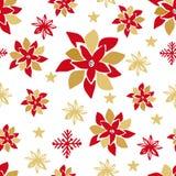 Teste padrão sem emenda do Natal Flocos de neve bonitos dos elementos da garatuja, bola, ramos de árvore do abeto, baga do azevin ilustração royalty free