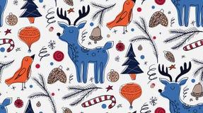 Teste padrão sem emenda do Natal no estilo rústico escandinavo Fotos de Stock Royalty Free