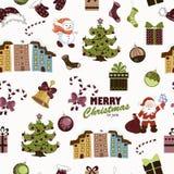 Teste padrão sem emenda do Natal no fundo branco ilustração stock