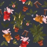 Teste padrão sem emenda do Natal Símbolo do porco 2019 do ano Grupo do ` s do ano novo Em um fundo claro dos azuis marinhos ilustração do vetor