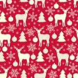 Teste padrão sem emenda do Natal vermelho do inverno Fundo do vetor Fotos de Stock