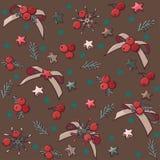 Teste padrão sem emenda do Natal do vetor com curvas, estrelas e bagas imagens de stock royalty free
