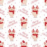 Teste padrão sem emenda do Natal do vetor Porcos bonitos dos desenhos animados no fundo branco ilustração royalty free