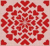 Teste padrão sem emenda do norte feito malha com corações Imagem de Stock Royalty Free
