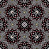 Teste padrão sem emenda do ondeamento do vetor abstrato com linhas Ornamento preto e branco gráfico do Spirograph Imagens de Stock