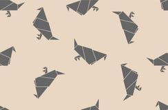 Teste padrão sem emenda do origâmi com pombas de papel Foto de Stock Royalty Free