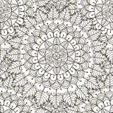 Teste padrão sem emenda do ornamento floral Textura redonda preto e branco do ornamento Imagem de Stock