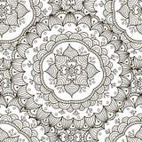 Teste padrão sem emenda do ornamento floral Textura redonda preto e branco do ornamento Imagens de Stock Royalty Free