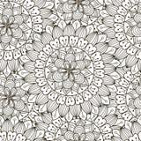 Teste padrão sem emenda do ornamento floral Textura redonda preto e branco no vetor Foto de Stock Royalty Free