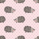 Teste padrão sem emenda do ouriço no fundo cor-de-rosa dos às bolinhas Fundo bonito do animal dos desenhos animados Fotos de Stock