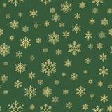 Teste padrão sem emenda do ouro e do Natal dos flocos de neve verdes Eps 10 ilustração stock