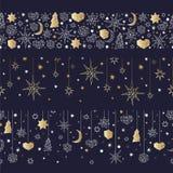 Teste padrão sem emenda do ouro do Natal e do ano novo feliz Imagem de Stock
