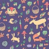 Teste padrão sem emenda do outono com animais Imagem de Stock