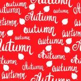 Teste padrão sem emenda do outono da rotulação com folhas imagem de stock royalty free