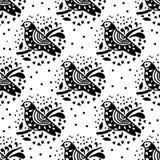 Teste padrão sem emenda do pássaro preto e branco Imagens de Stock Royalty Free