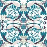 Teste padrão sem emenda do pássaro do vetor com máscaras de cores azuis Fotografia de Stock Royalty Free
