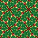 Teste padrão sem emenda do papel de parede do azevinho Foto de Stock Royalty Free