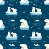 Teste padrão sem emenda do peluche-urso polar Imagens de Stock Royalty Free
