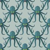 Teste padrão sem emenda do polvo O verde do fundo do vetor kraken retro ilustração stock