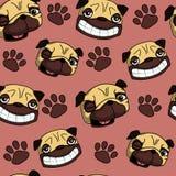 Teste padrão sem emenda do Pug Imagens de Stock Royalty Free