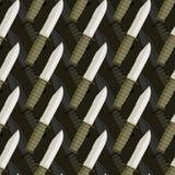 Teste padrão sem emenda do punhal militar fundo 3d das facas Imagens de Stock